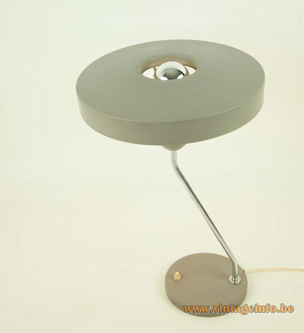 Philips Romeo Desk Lamp mushroom metal lampshade chrome folded rod round base Louis kalff 1960s 1970s
