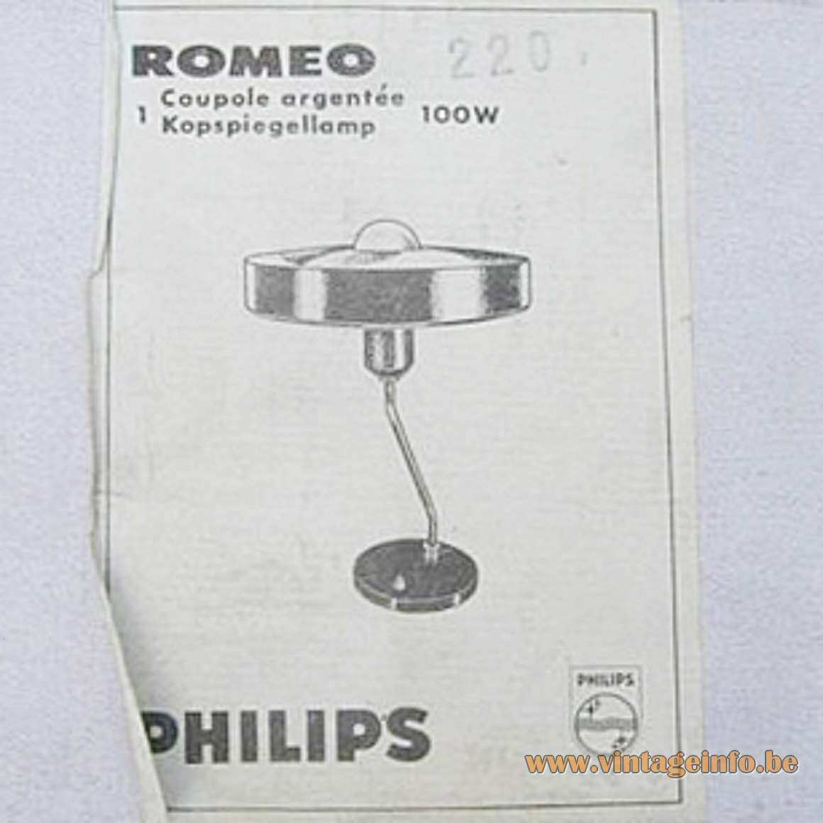 Philips Romeo Desk Lamp - Stickers/labels on the Box