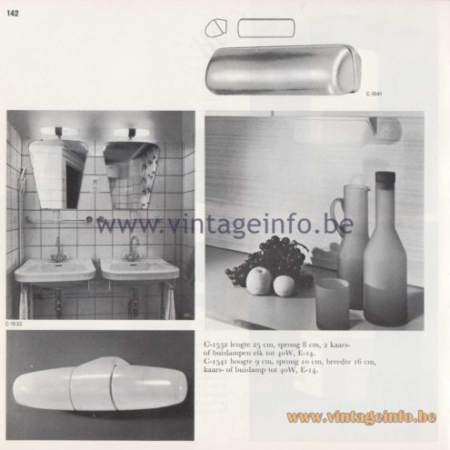 Raak Amsterdam Light Catalogue 8 - 1968 - C-1532, C-1541 Bathroom Wall Lamps