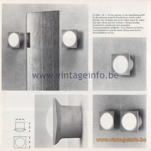 Raak Amsterdam Light Catalogue 8 - 1968 - Indoor and outdoor wall lamp C-1800