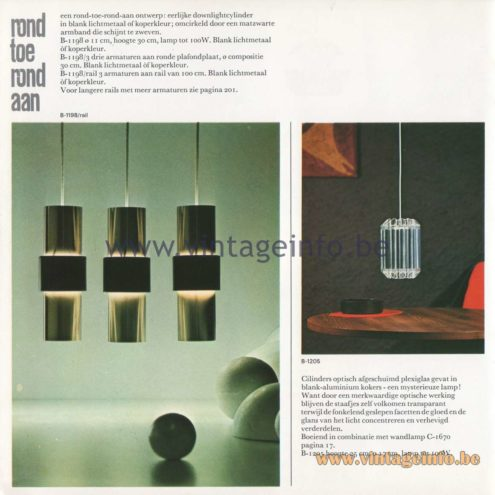 Raak Amsterdam Light Catalogue 8 - 1968 - B-1198 Pendant Lamp and B-1205 Pendant Lamp