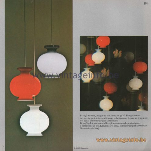 Raak Amsterdam Light Catalogue 8 - 1968 - B-1056 Pendant Lamps