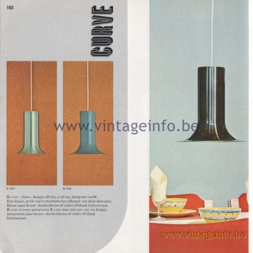 Raak Amsterdam Light Catalogue 8 - 1968 - Curve Pendant Lamp B-1102
