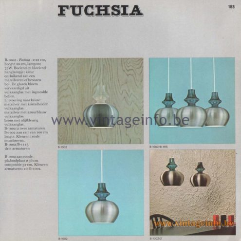 Raak Amsterdam Light Catalogue 8 - 1968 - Fuchsia Pendant Lamp B-1002