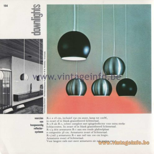 Raak Amsterdam Light Catalogue 8 - 1968 - Downlights Pendant Lamps R-1, R-1/S, R-1/3, R-1/rail 3