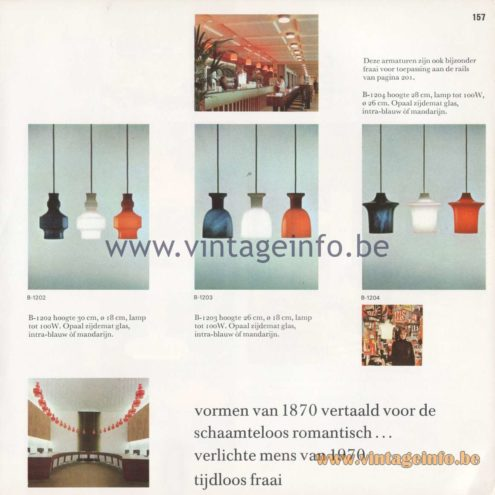 Raak Amsterdam Light Catalogue 8 - 1968 - Pendant Lamps B-1202, B-1203, B-1204
