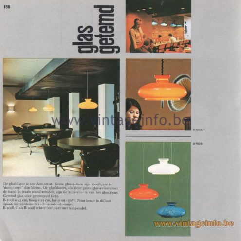 "Raak Amsterdam Light Catalogue 8 - 1968 - Pendant Lamps B-1008 ""glas getemd"" (tamed glass)"