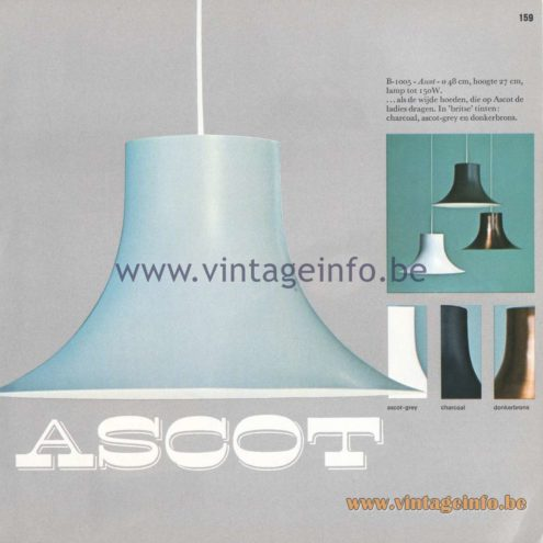 Raak Amsterdam Light Catalogue 8 - 1968 - Ascot Pendant lamp B-1005