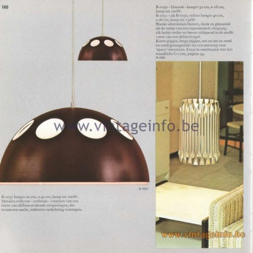 Raak Amsterdam Light Catalogue 8 - 1968 - Raak Pendant Lamps B-1057 and B-1050, B-1051 Concorde