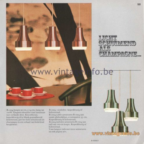 "Raak Amsterdam Light Catalogue 8 - 1968 - Raak Pendant Lamps B-1004 ""Licht schuimend als champagne"" (Slightly foamy as champagne)"