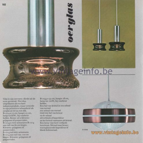 Raak Amsterdam Light Catalogue 8 - 1968 - Raak Pendant Lamps B-1214 and B-1044 - Oerglas (primal glass)