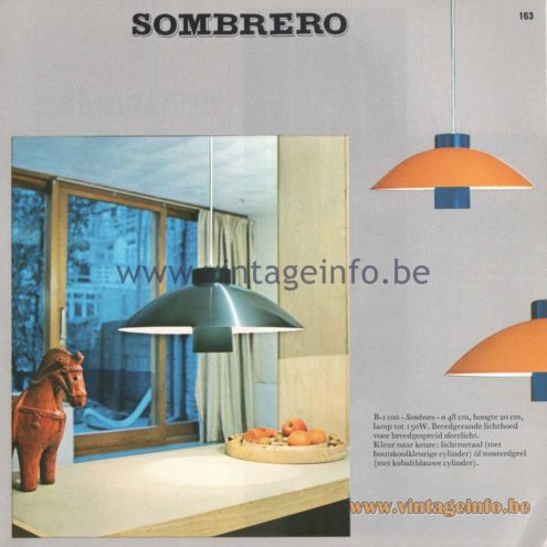 Raak Amsterdam Light Catalogue 8 - 1968 - Pendant Lamps B-1100 Sombrero