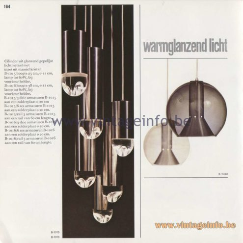 "Raak Amsterdam Light Catalogue 8 - 1968 - Pendant Lamps B-1015, B-1016 ""warmglanzend licht"" (warm shiny light) and B-1040"