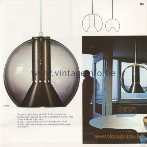 Raak Amsterdam Light Catalogue 8 - 1968 - Pendant Lamps B-1040 and B-1041