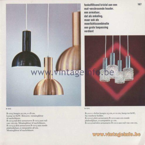 Raak Amsterdam Light Catalogue 8 - 1968 - Pendant Lamps B-1013, B-1212