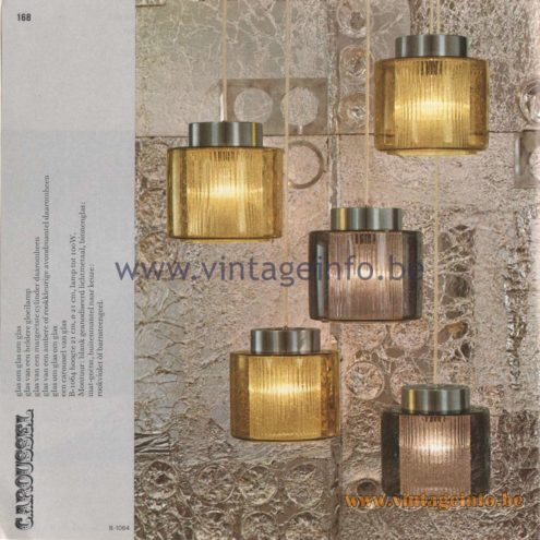 Raak Amsterdam Light Catalogue 8 - 1968 - Pendant Lamps B-1064 - Caroussel
