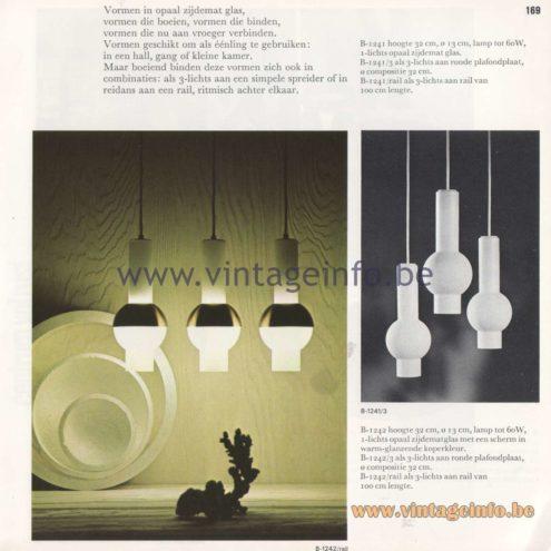 Raak Amsterdam Light Catalogue 8 - 1968 - Pendant Lamps B-1241, B-1242