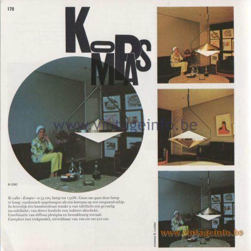 Raak Amsterdam Light Catalogue 8 - 1968 - Pendant Lamps B-1280 - Kompas (compass)