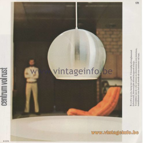 "Raak Amsterdam Light Catalogue 8 - 1968 - Pendant Lamps B-1276 - ""centrum vol rust"" (center full of rest)"