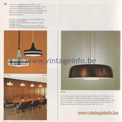 Raak Amsterdam Light Catalogue 8 - 1968 - Pendant Lamps B-1200, B-1010
