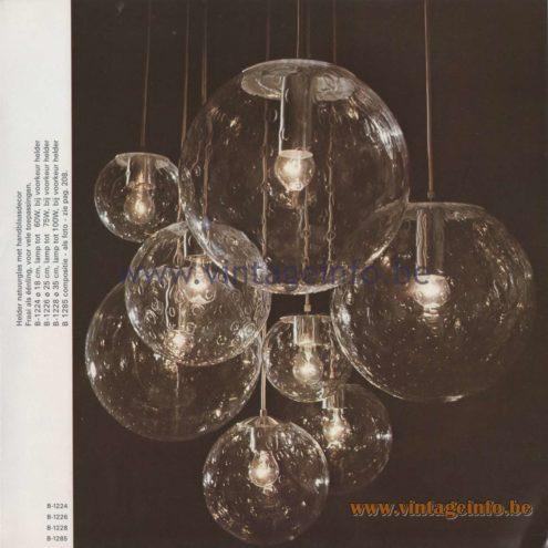 Raak Amsterdam Light Catalogue 8 - 1968 - Pendant Lamps B-1224, B-1226, B-1228, B-1285