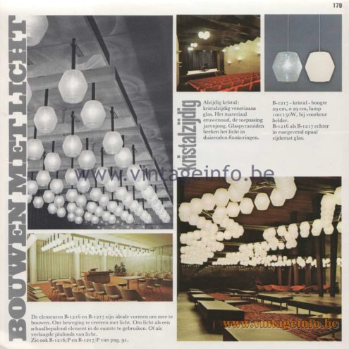 "Raak Amsterdam Light Catalogue 8 - 1968 Bouwen Met Licht - Building With Light - B-1216, B-1217 Pendant Lamps ""kristalzijdig"" (crystal sided)"