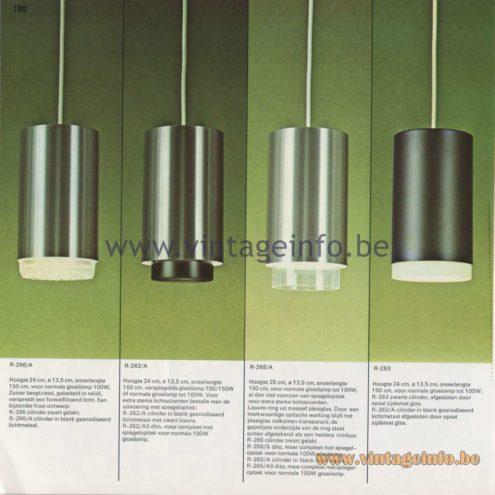Raak Amsterdam Light Catalogue 8 - 1968 - Cilinder Downlights Pendant Lamps R-266/A, R-262/A, R-265/A, R-263