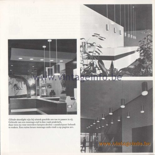 Raak Amsterdam Light Catalogue 8 - 1968 - Cilinder Downlights Pendant Lamps R-266/A, R-262/A, R-265/A, R-263