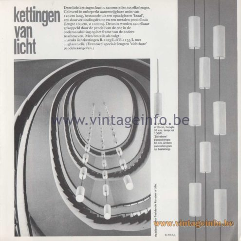 "Raak Amsterdam Light Catalogue 8 - 1968 - Pendant Lamps B-1123/L, B-1155/L - ""kettingen van licht"" chains of light"
