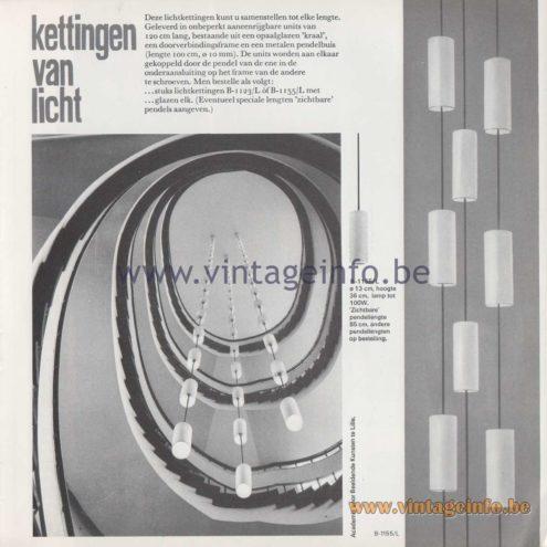 "Raak Amsterdam Light Catalogue 8 - 1968 - Pendant Lamps B-1123/L, B-1155/L - ""kettingen van licht"" chains of light"