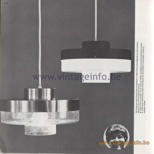 Raak Amsterdam Light Catalogue 8 - 1968 - B-1045, B-1046. Design Li Helo