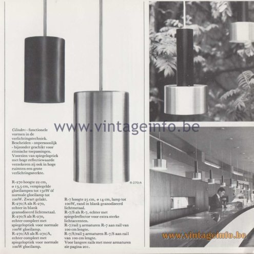 Raak Amsterdam Light Catalogue 8 - 1968 - R-270, R-7 - Cilinders