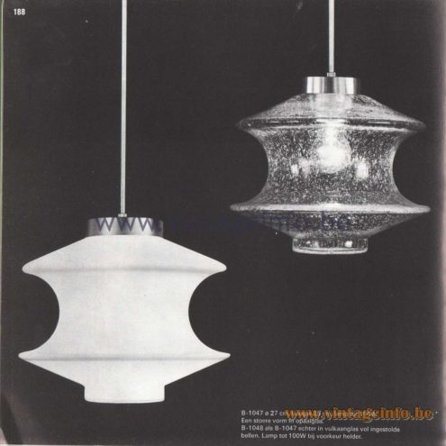 Raak Amsterdam Light Catalogue 8 - 1968 - Pendant Lamps B-1047, B-1048. Meerpaal