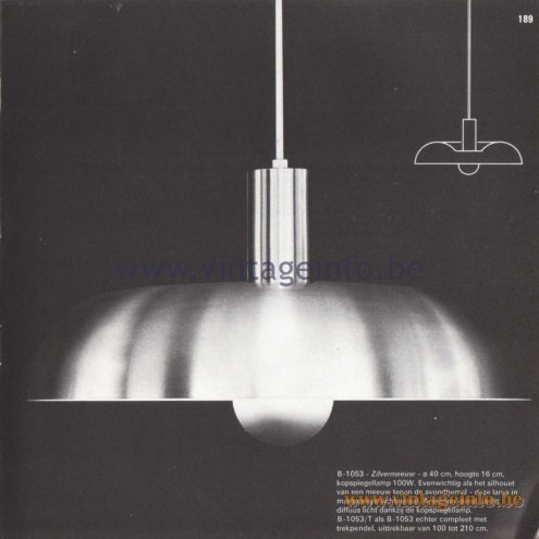 Raak Amsterdam Light Catalogue 8 - 1968 - Pendant Lamps B-1503 Zilvermeeuw (Herring Gull)