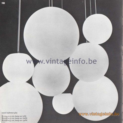 "Raak Amsterdam Light Catalogue 8 - 1968 - Pendant Lamps B-1254, B-1256, B-1258 - ""opaal zijdemat glas"" (opal silk matt glass)"