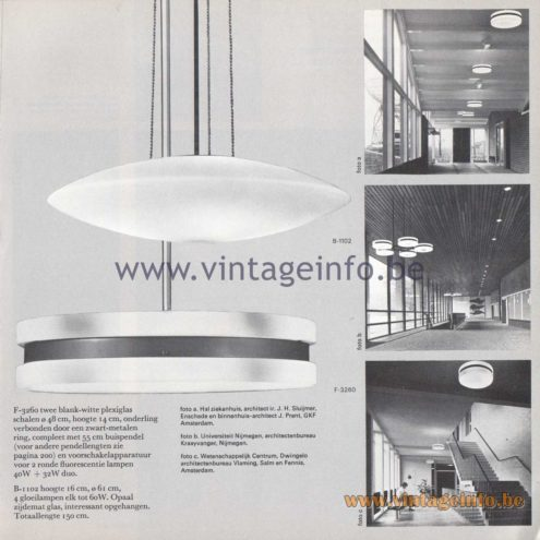 Raak Amsterdam Light Catalogue 8 - 1968 - Pendant Lamps B-1102, F-3260