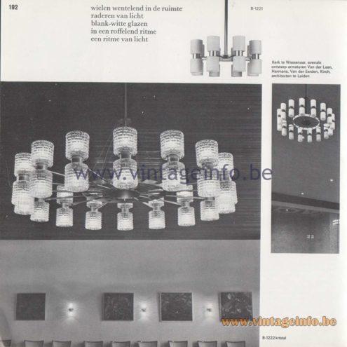 Raak Amsterdam Light Catalogue 8 - 1968 - B-1222 crystal glass - Design fixtures: Van der Laan, Hermans, Van der Eerden, Kirch - Leiden, The Netherlands