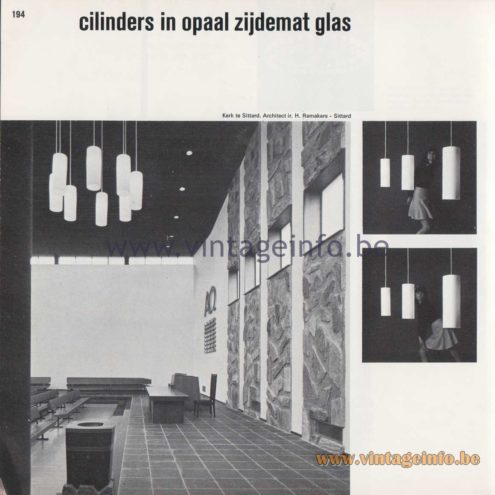 "Raak Amsterdam Chandelier - ""Cilinders in opaal zijdemat glas"" (Cylinders in opal satin glass) B-1163, B-1155, B-1199"