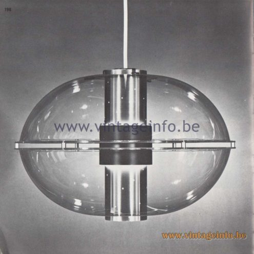 Raak Amsterdam Light Catalogue 8 - 1968 - Pendant Lamp Roger! Other names: Orbiter and Sphere B-1171.