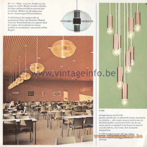 Raak Amsterdam Light Catalogue 8 - 1968 - Pendant Lamp Roger! Other names: Orbiter and Sphere. B-1171. Pendant B-1300.