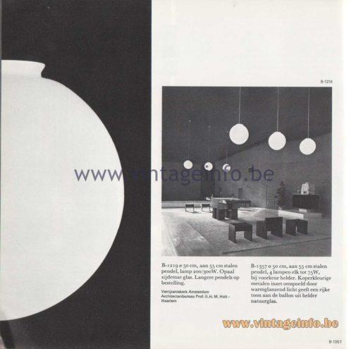 Raak Amsterdam Light Catalogue 8 - 1968 - Pendant Lamps B-1219, B-1357
