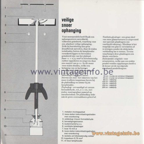 "Raak Amsterdam Light Catalogue 8 - 1968 - ""veilige snoer ophanging) (secure cord suspension)"