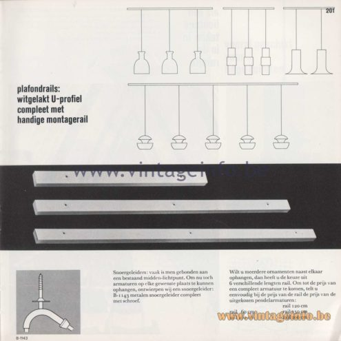 Raak Amsterdam Light Catalogue 8 - 1968 - plafondrails - ceiling rails