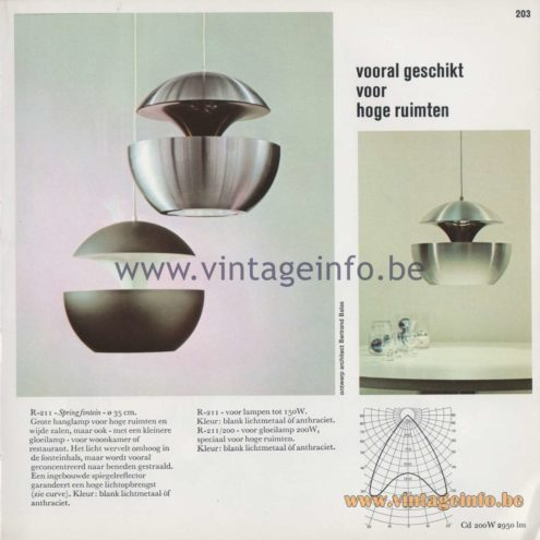 Raak Amsterdam Light Catalogue 8 - 1968 - Pendant Lamps Springfontein - R-211 - Vooral geschikt voor hoge ruimten - Especially suitable for high rooms
