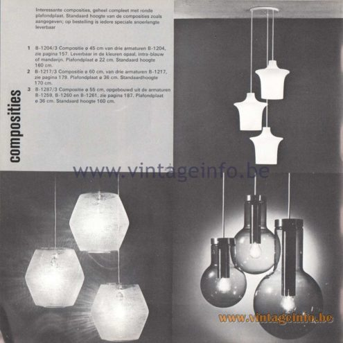 "Raak Amsterdam Light Catalogue 8 - 1968 - Pendant Lamps B-1204, B-1217, B-1287, B-1259, B-1260, B-1261. ""composities"" (compositions)"