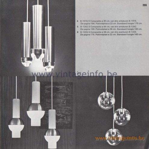 "Raak Amsterdam Light Catalogue 8 - 1968 - Pendant Lamps B-1016, B-1242, B-1224. ""composities"" (compositions)"