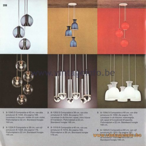 "Raak Amsterdam Light Catalogue 8 - 1968 - Pendant Lamps B-1016, B-1040, B-1224, B-1203, B-1056, B-1203, B-1242. ""composities"" (compositions)"