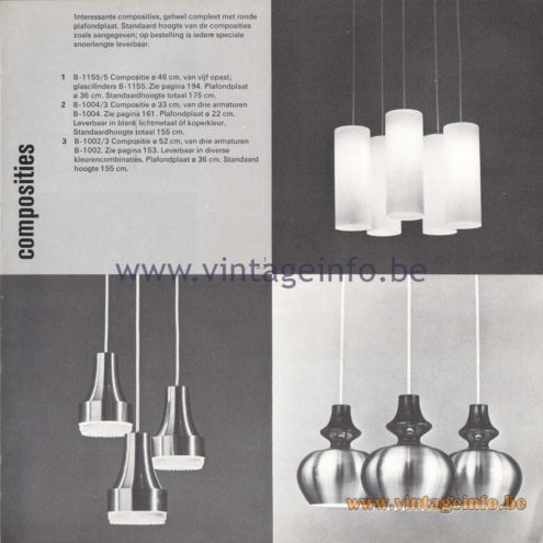 "Raak Amsterdam Light Catalogue 8 - 1968 - Pendant Lamps B-1155, B-1004, B-1002. ""composities"" (compositions)"