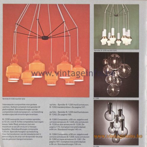 Raak Amsterdam Light Catalogue 8 - 1968 - Spreider (spreader) B-1230. Lamps: B-1202, B-1259, B-1260, B-1285, B-1284, B-1261