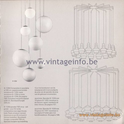 Raak Amsterdam Light Catalogue 8 - 1968 - Spreider (spreader) B-1028. Lamps: B-1286, B-1202, B-1047, 1259, B-1260, B-1261